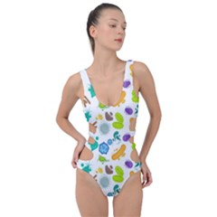 Bacteria Virus Seamless Pattern Side Cut Out Swimsuit by Vaneshart