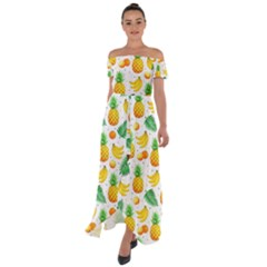 Tropical Fruits Pattern Off Shoulder Open Front Chiffon Dress