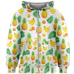 Tropical Fruits Pattern Kids  Zipper Hoodie Without Drawstring by Vaneshart