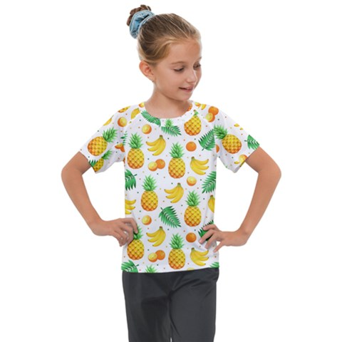 Tropical Fruits Pattern Kids  Mesh Piece Tee by Vaneshart
