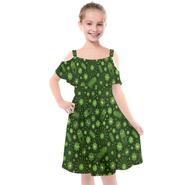 Seamless Pattern With Viruses Kids  Cut Out Shoulders Chiffon Dress