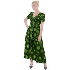 Seamless Pattern With Viruses Button Up Short Sleeve Maxi Dress by Vaneshart