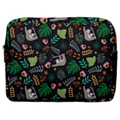 Floral Pattern With Plants Sloth Flowers Black Backdrop Make Up Pouch (large)