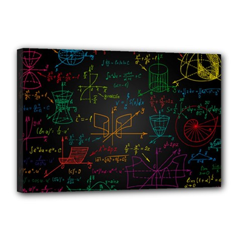 Mathematical Colorful Formulas Drawn By Hand Black Chalkboard Canvas 18  X 12  (stretched)