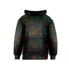 Mathematical Colorful Formulas Drawn By Hand Black Chalkboard Kids  Pullover Hoodie
