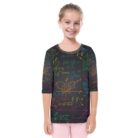 Mathematical Colorful Formulas Drawn By Hand Black Chalkboard Kids  Quarter Sleeve Raglan Tee by Vaneshart