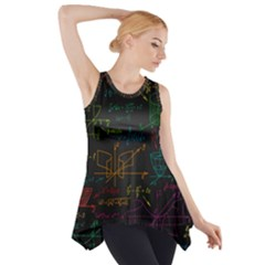 Mathematical Colorful Formulas Drawn By Hand Black Chalkboard Side Drop Tank Tunic