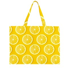 Lemon Fruits Slice Seamless Pattern Zipper Large Tote Bag