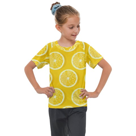 Lemon Fruits Slice Seamless Pattern Kids  Mesh Piece Tee by Vaneshart