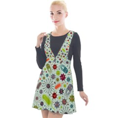 Seamless Pattern With Viruses Plunge Pinafore Velour Dress by Vaneshart