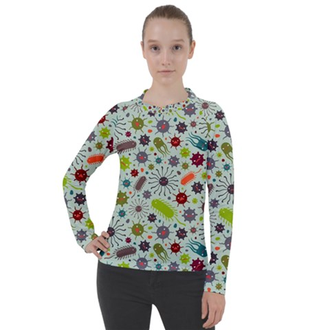 Seamless Pattern With Viruses Women s Pique Long Sleeve Tee by Vaneshart