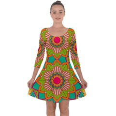 Mandala Patterns Yellow Quarter Sleeve Skater Dress by Vaneshart