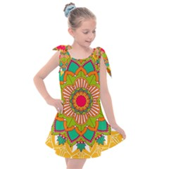Mandala Patterns Yellow Kids  Tie Up Tunic Dress
