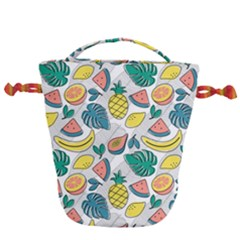 Seamless Pattern Tropical Fruit Banana Watermelon Papaya Lemon Orange Monstera Drawstring Bucket Bag