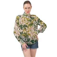 Flower Leaves Background High Neck Long Sleeve Chiffon Top