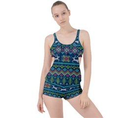 Background With Fabric Texture Winter Boyleg Tankini Set