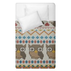 Fabric Texture With Owls Duvet Cover Double Side (single Size)