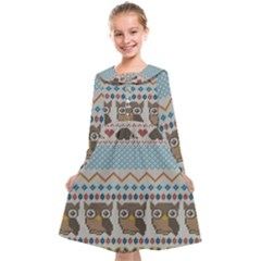 Fabric Texture With Owls Kids  Midi Sailor Dress