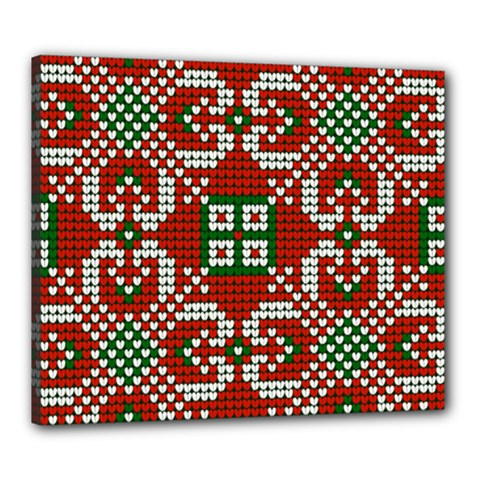 Grandma S Christmas Knitting Pattern Red Green White Colors Canvas 24  X 20  (stretched)