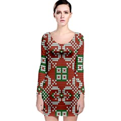 Grandma S Christmas Knitting Pattern Red Green White Colors Long Sleeve Bodycon Dress