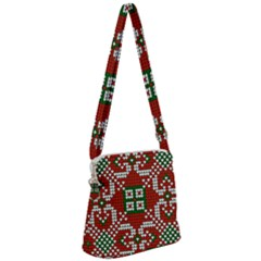 Grandma S Christmas Knitting Pattern Red Green White Colors Zipper Messenger Bag by Vaneshart
