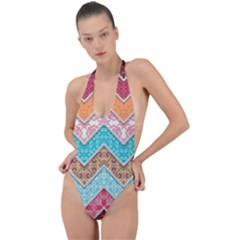 Ethnic Floral Pattern Backless Halter One Piece Swimsuit by Vaneshart