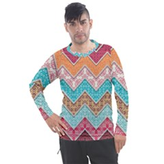 Ethnic Floral Pattern Men s Pique Long Sleeve Tee