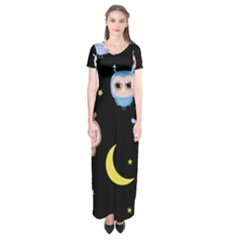 Cute Owl Doodles With Moon Star Seamless Pattern Short Sleeve Maxi Dress