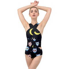 Cute Owl Doodles With Moon Star Seamless Pattern Cross Front Low Back Swimsuit