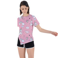 Cute Unicorn Seamless Pattern Asymmetrical Short Sleeve Sports Tee