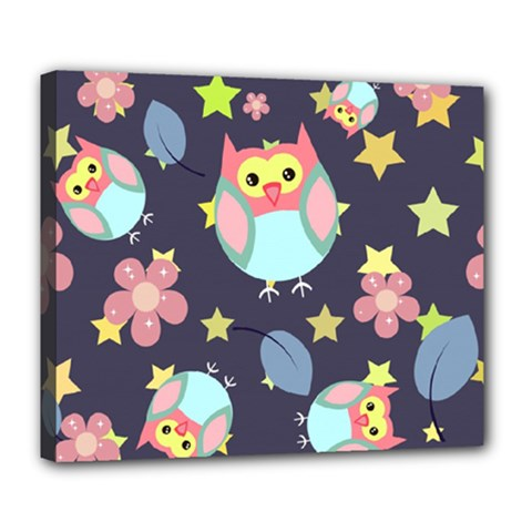 Owl Stars Pattern Background Deluxe Canvas 24  X 20  (stretched)