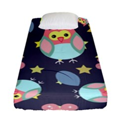 Owl Stars Pattern Background Fitted Sheet (single Size)