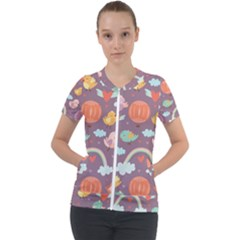 Cute Seamless Pattern With Doodle Birds Balloons Short Sleeve Zip Up Jacket