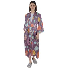 Cute Seamless Pattern With Doodle Birds Balloons Maxi Satin Kimono by Vaneshart
