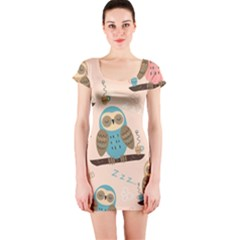 Seamless Pattern Owls Dream Cute Style Fabric Short Sleeve Bodycon Dress