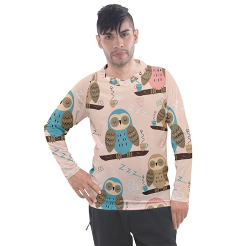 Seamless Pattern Owls Dream Cute Style Fabric Men s Pique Long Sleeve Tee by Vaneshart