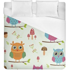 Forest Seamless Pattern With Cute Owls Duvet Cover (king Size)