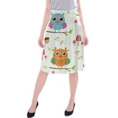 Forest Seamless Pattern With Cute Owls Midi Beach Skirt by Vaneshart