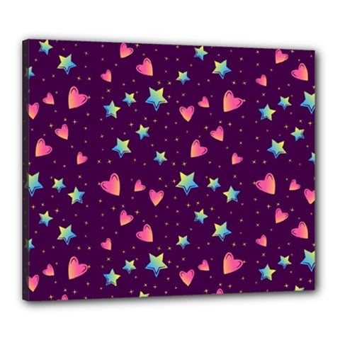 Colorful Stars Hearts Seamless Vector Pattern Canvas 24  X 20  (stretched)