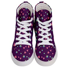 Colorful Stars Hearts Seamless Vector Pattern Men s Hi-top Skate Sneakers