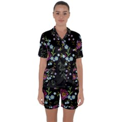 Embroidery Trend Floral Pattern Small Branches Herb Rose Satin Short Sleeve Pyjamas Set by Vaneshart