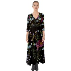 Embroidery Trend Floral Pattern Small Branches Herb Rose Button Up Boho Maxi Dress by Vaneshart