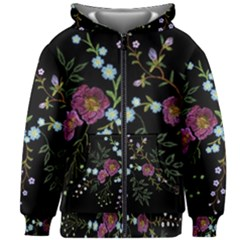 Embroidery Trend Floral Pattern Small Branches Herb Rose Kids  Zipper Hoodie Without Drawstring by Vaneshart