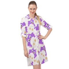 Purple Owl Pattern Background Long Sleeve Mini Shirt Dress