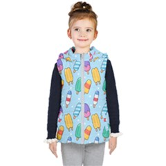 Cute Kawaii Ice Cream Seamless Pattern Kids  Hooded Puffer Vest by Vaneshart
