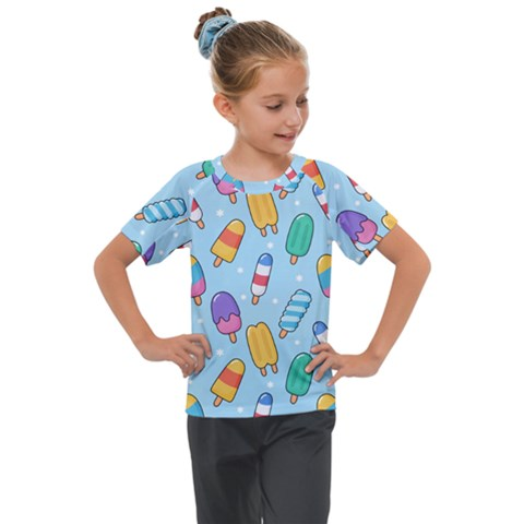 Cute Kawaii Ice Cream Seamless Pattern Kids  Mesh Piece Tee by Vaneshart