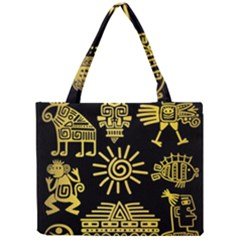 Maya Style Gold Linear Totem Icons Mini Tote Bag by Vaneshart
