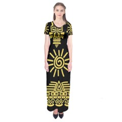 Maya Style Gold Linear Totem Icons Short Sleeve Maxi Dress by Vaneshart