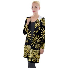 Maya Style Gold Linear Totem Icons Hooded Pocket Cardigan