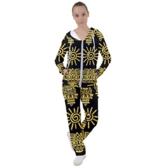 Maya Style Gold Linear Totem Icons Women s Tracksuit by Vaneshart